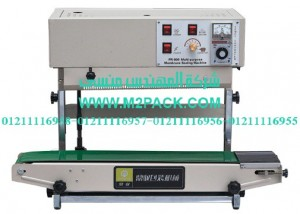 ماكينة لحام وتصنيع أكياس متعددة الطبقات رأسية مع طباعة تاريخ إنتاج بسير ناقل موديل m2pack com 303